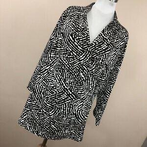 Laura Ashley 2X Sweater Lightweight Brown Cream Animal Print Wrap V Neck  R3
