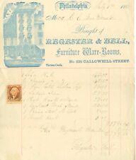 1868 Philadelphia Pennsylvania Regester & Bell Furniture letterehad w/Revenue