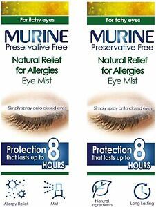 Twin Pack of Murine Natural Relief for Allergies Eye Mist Spray 2 x 15 ml
