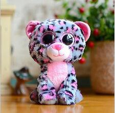"6"" Cute Purple leopard TY Beanie Boos Plush Stuffed Toys Glitter Eyes"