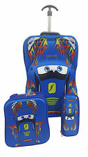 3 Piece Wheels Trolley Kids Travel Race Cars Car School Bag Backpack Boys Case B