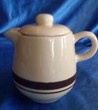 Vintage Creamer MCCOY POTTERY 7020 TAN & BROWN STRIPE With Lid 1
