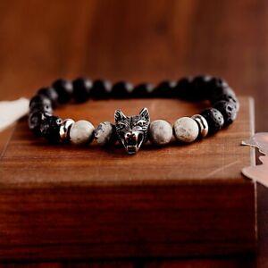 marvel gift for men Wolf jewelry Viking wolf bracelet Stainless steel bracelet Black Man leather bracelet Wolf charm Magnet bracelet