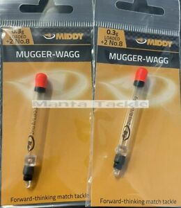 NEW 2 x Middy Mugger Pellet Waggler Float: 0.3g Loaded Carp Surface Floats
