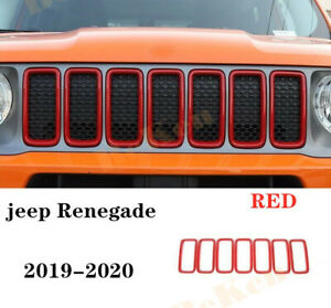 FOR jeep Renegade 19-2020 RED ABS Front grille ring cover trim 7PCS