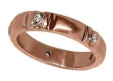 14k Rose Gold Band with 5 Genuine Diamonds. Size 6.5   (R677)