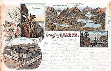 Gruss aus Goldau Bahnhof Panorama vom Rigi Lithographie gelaufen 1898