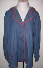 NEW ULLA POPKEN Unlined Denim Relaxed Fit Hooded Jacket 2X 20 22