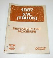 1987 Dodge Ram 5.9L Driveability Test Procedures Manual GOOD USED CONDITION