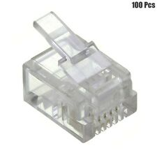 100 Pcs RJ11 6P4C Telephone Phone Plug Connector Crimp On For Solid Wire Clear