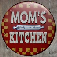 Metal Tin Sign round mom's kitchen decor Bar Pub Retro Poster 30cm diameter