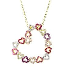 Sterling Silver Lab-created Ruby with Cubic Zirconia Open Heart Pendant Necklace