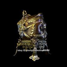 Tibet Nepal Pure Bronze Buddhism Ruby beryl kapala skull cup FaQi statue 17CM