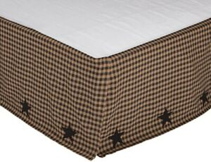 Black Star Appliqued Checked Bed Skirt with Dark Tan Flat Panel Dust Ruffle