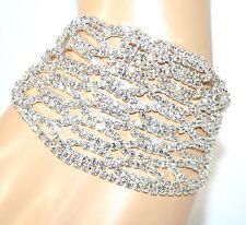 BRACCIALE ARGENTO cristalli strass donna fascia elegante sposa bracelet F190