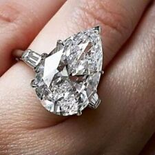 Certified 6.00Ct White Pear Cut Engagement Wedding 14K White Gold Bridal Ring