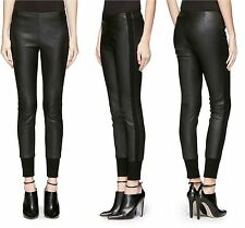 SZ S VINCE BLACK KNIT CUFF LAMBSKIN LEATHER STRETCH LEGGINGS PANTS NWT$1175