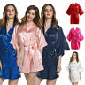 Women Silk Satin Robes Wedding Bridesmaid Bride Gown Kimono Solid Robe Sleepwear