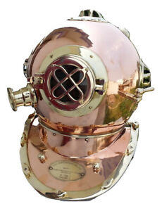 US Navy Beautiful Shiny Brass N Copper Divers Diving Helmet Antique Vintage Gift