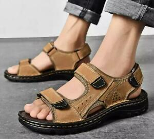 3 Color Size 5-12 Leather Mens Casual HiKing Flat Sandals Shoes Open Toe Beach S