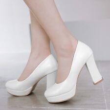 5ff059ffc6f Womens Office Slip On Round Toe High Cuban Heel Platform Pumps Working OL  Shoes