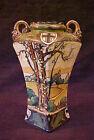 """Nippon Porcelain 7"""" Woodlands Vase w/Beaded Handles"""