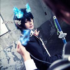 Ao no Exorcist Okumura Rin Blue Mixed Black Short Manga Cosplay Wig + Wig Cap