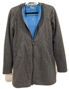 Athleta Women's Medium Redwood Long Gray Blue Hoodie Full Zip Yoga Jacket Coat