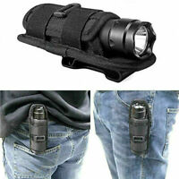 Black Molle 360° Rotatable Nylon Flashlight Holster Holder Bag Waist Pouch US