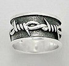 Size 13 Mens Solid Sterling Silver Knots Thorns 10mm Wide Cigar Band Ring 8g