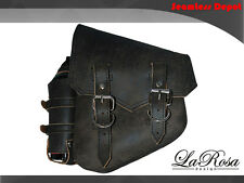 La Rosa Harley Chopper Bobber ClaSICK Saddlebag & Bottle - Rustic Black Leather