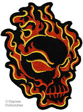FLAMING SKULL iron-on embroidered PATCH EVIL FIRE FLAME biker SKELETON FIRE