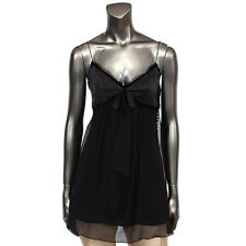 32099 auth CHRISTIAN DIOR black silk Spaghetti Strap Tank Top Shirt 36 XS