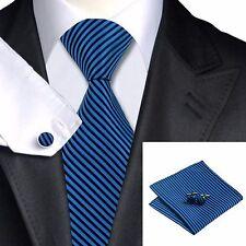 Men's Navy Blue And Black Diagonal Stripes Tie+Hanky & Cuflinks Matching Set 238