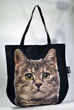 Animale Tote Bag, Borsa a mano 3D Carino, unico fatto a mano EU-Marrone Gatto Tigrato SGOMBRO