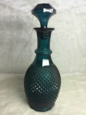 """New listing Vintage Blue Glass Wine Liquor Decanter Bottle 12.5"""" Quilted Diamond"""