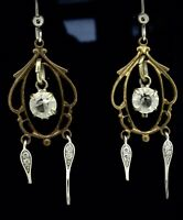 ANTIQUE VICTORIAN EARRINGS CHANDELIER COSTUME CRYSTAL ROCK WHITE YELLOW METAL