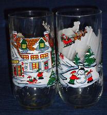 COKE Christmas Glasses w/Santa Sleigh & Reindeer over Housetops set of 2
