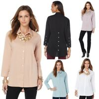 $89 MarlaWynne Stretch Poplin Shirt 441652-J (XS & M Soft Blush) $24.90