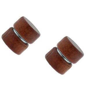 Earrings Organic Wood Steel Fake Magnetic Cheater plug Plug Sold as a pair