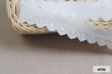"14yds Embroidery cotton eyelet lace trim 1"" white YH923  laceking2013"