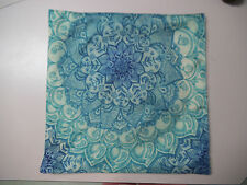 """Turquoise Mandala Art Throw Pillow / Cushion Cover  18"""" or 45cms Square"""