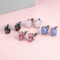 Cute White/Pink/Purple/Blue Round Fire Opal Stud Earrings Silver Wedding Jewelry