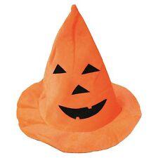 Adults or Kids Orange Halloween Fancy Dress Pumpkin Witches Hat