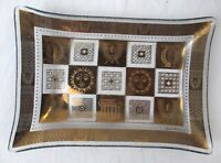 Vintage Collectible Antique Gold Printed Glass Candy Dish Tray Table Decoration