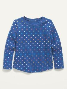 Old Navy Toddler Girl ~ Hearts ~ Long Sleeve Tee T-Shirt ~ Size 4T … NWT