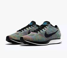 Nike Flyknit Racer Running Shoes Mens 9 Green Strike Blue Lagoon 526628 304
