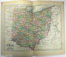 Original 1895 Copper-Plate Map of Ohio by A. J. Johnson. Rare. Antique