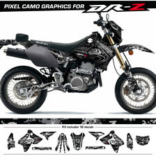 Suzuki drz400SM Decals Pixel Camouflage Graphic kit (2000-act) Black Plastics