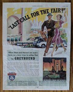 "Print Advertisement for Greyhound Bus-Country Gentleman-1937-10 1/2 x 13 3/4"""